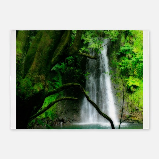 Waterfall in Azores 5'x7'Area Rug