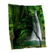 Waterfall in Azores Burlap Throw Pillow