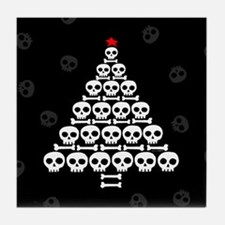 Skull Xmas Tree Tile Coaster