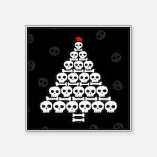 "Skull Xmas Tree Square Sticker 3"" x 3"""