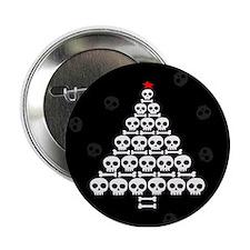 "Skull Xmas Tree 2.25"" Button"