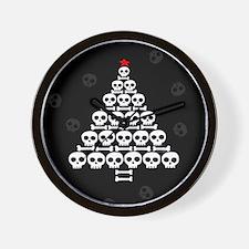 Skull Xmas Tree Wall Clock