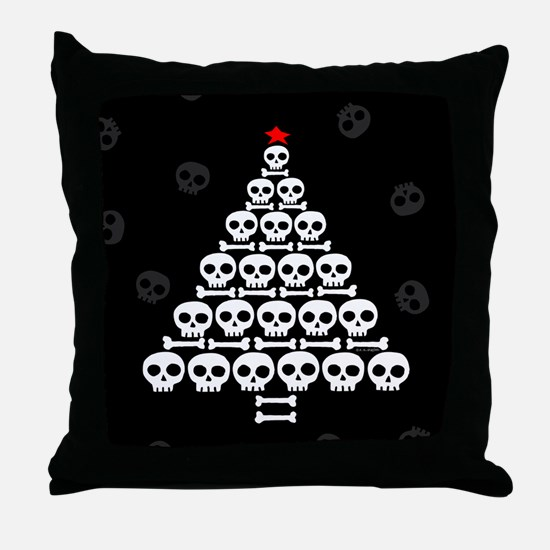 Skull Xmas Tree Throw Pillow
