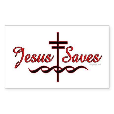 Jesus Saves [With Cross] Oval Sticker