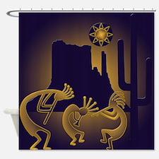 Southwest Kokopelli In Purple Gold Shower Curtain