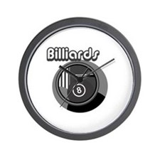 Black and White Pool Blliards Logo Wall Clock