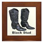 Yo Black Stud Framed Tile