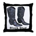 Yo Black Stud Throw Pillow
