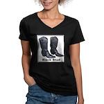 Yo Black Stud Women's V-Neck Dark T-Shirt