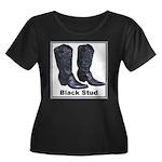 Yo Black Stud Women's Plus Size Scoop Neck Dark T-
