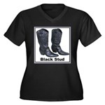 Yo Black Stud Women's Plus Size V-Neck Dark T-Shir