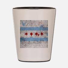 Chicago Flag Vintage Grunge Shot Glass