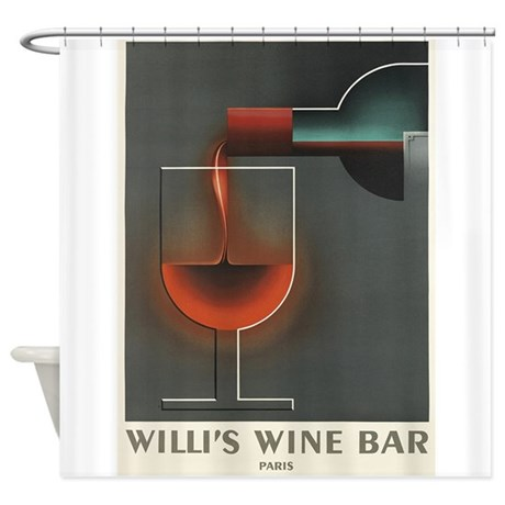 Willi s Wine Bar Vintage Poster Shower Curtain by
