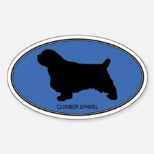 Clumber Spaniel (oval-blue) Oval Decal