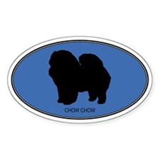 Chow Chow (oval-blue) Oval Decal