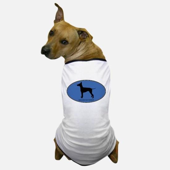 Manchester Terrier (oval-blue Dog T-Shirt