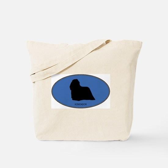 Komondor (oval-blue) Tote Bag