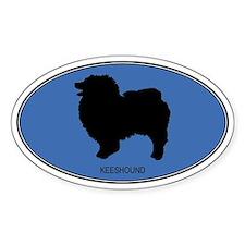 Keeshound (oval-blue) Oval Decal