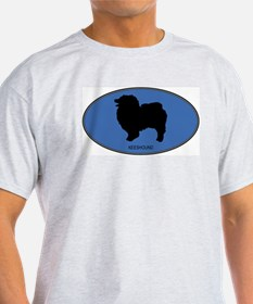 Keeshound (oval-blue) T-Shirt
