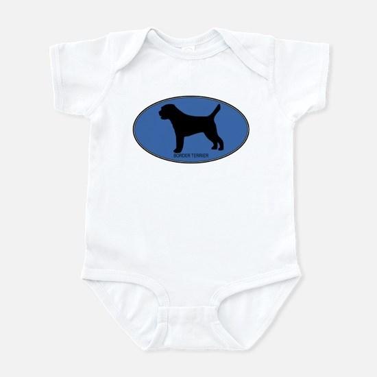 Border Terrier (oval-blue) Infant Bodysuit