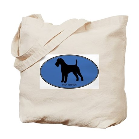 Irish Terrier (oval-blue) Tote Bag