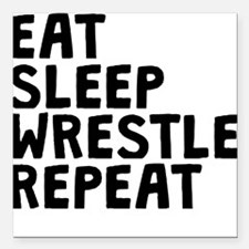 "Eat Sleep Wrestle Repeat Square Car Magnet 3"" x 3"""