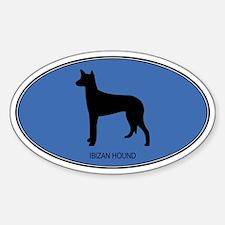 Ibizan Hound (oval-blue) Oval Decal