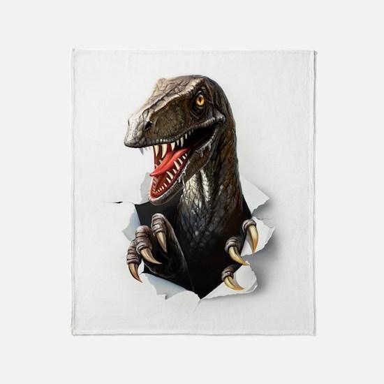 Velociraptor Dinosaur Throw Blanket