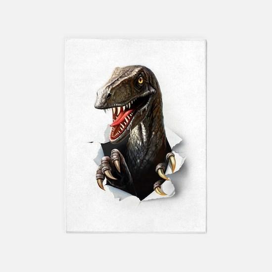 Velociraptor Dinosaur 5'x7'Area Rug