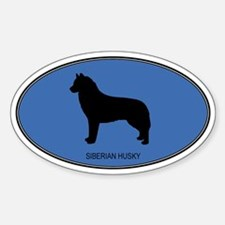 Siberian Husky (oval-blue) Oval Decal