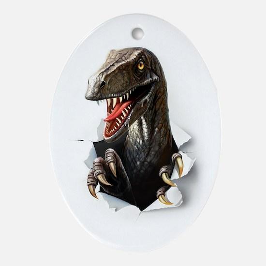 Velociraptor Dinosaur Oval Ornament