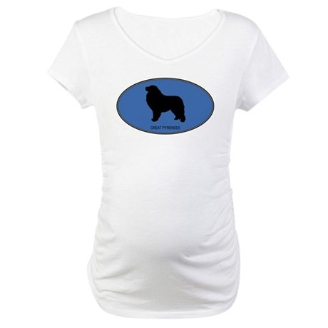 Great Pyrenees (oval-blue) Maternity T-Shirt