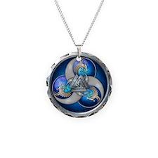 Blue Norse Triple Dragons Necklace