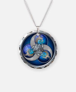Blue Norse Triple Dragons Necklace Circle Charm