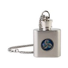 Blue Norse Triple Dragons Flask Necklace