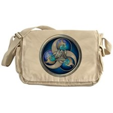 Blue Norse Triple Dragons Messenger Bag