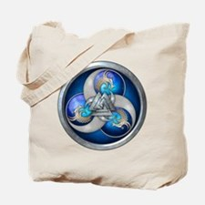 Blue Norse Triple Dragons Tote Bag