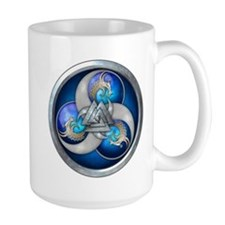 Blue Norse Triple Dragons Ceramic Mugs