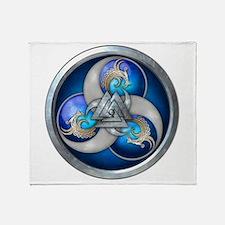 Blue Norse Triple Dragons Throw Blanket