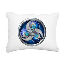 Blue Norse Triple Dragon Rectangular Canvas Pillow