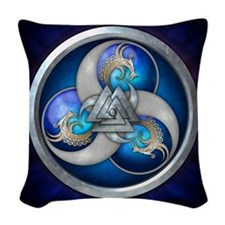 Blue Norse Triple Dragons Woven Throw Pillow