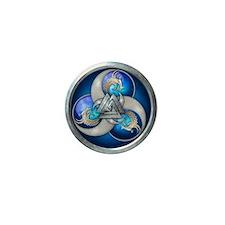 Blue Norse Triple Dragons Mini Button