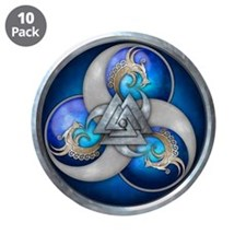 "Blue Norse Triple Dragons 3.5"" Button (10 pack)"