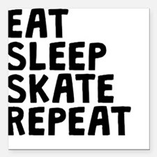 "Eat Sleep Skate Repeat Square Car Magnet 3"" x 3"""