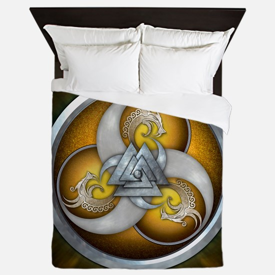 Yellow Triple Norse Dragon Shield Queen Duvet