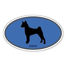 Basenji (oval-blue) Oval Decal