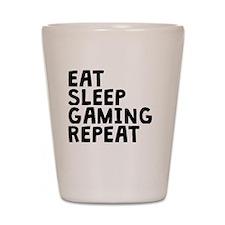Eat Sleep Gaming Repeat Shot Glass