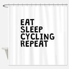 Eat Sleep Cycling Repeat Shower Curtain