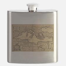 Vintage Map of The Mediterranean Sea (1685) Flask