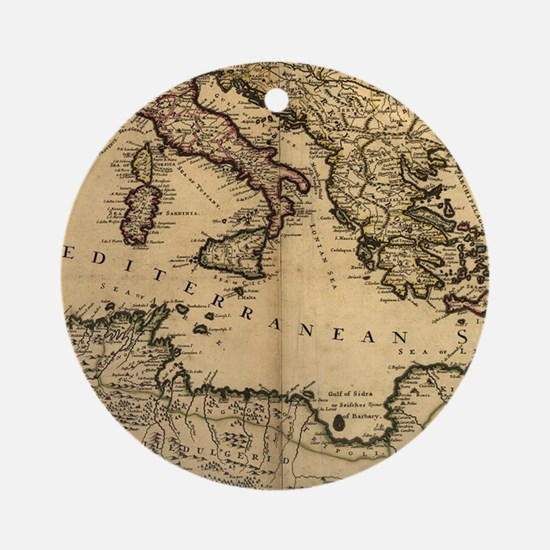 Vintage Map of The Mediterranean Se Round Ornament